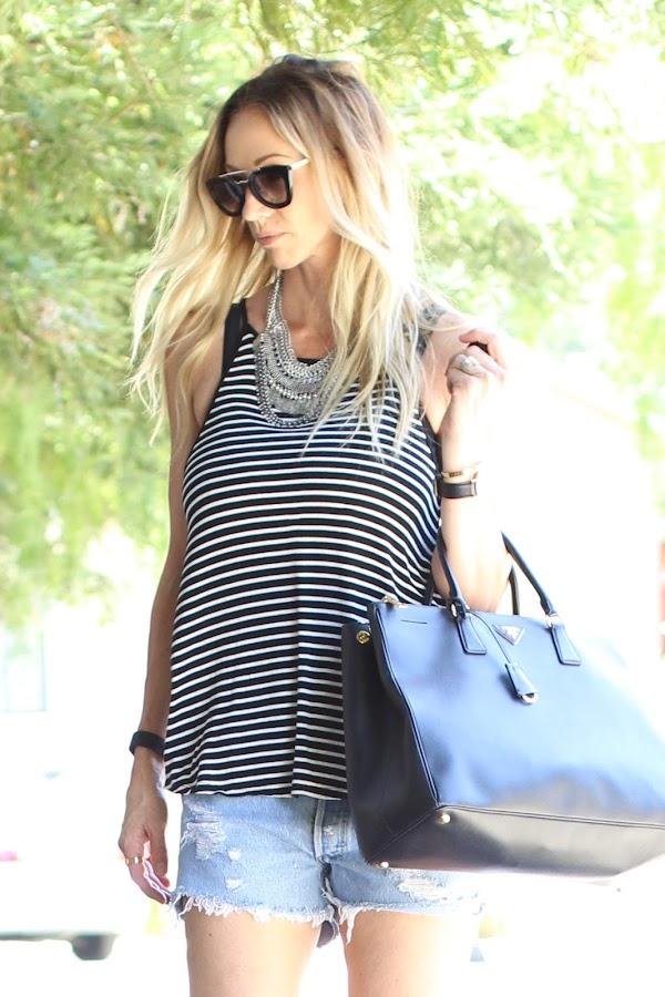black and white striped tank american eagle