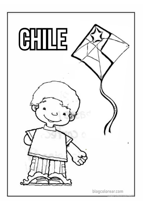 Chile colorear dibujos fiesta patrias,