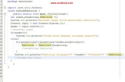program faktorial java menggunakan loop