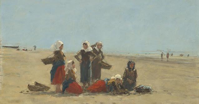 painting of women on beach