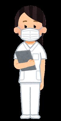 白いスクラブを着た医療従事者のイラスト(女性)