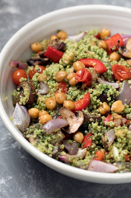 Roasted Veggie, Chickpea & Pesto Quinoa Salad
