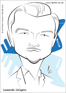 Leonardo DiCaprio caricature by Ian Davy Brown