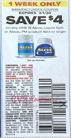 "$4.00/1 Aleve Liquid Gels or PM product 40 ct or larger Coupon from ""SMARTSOURCE"" insert week of 2/23/20."