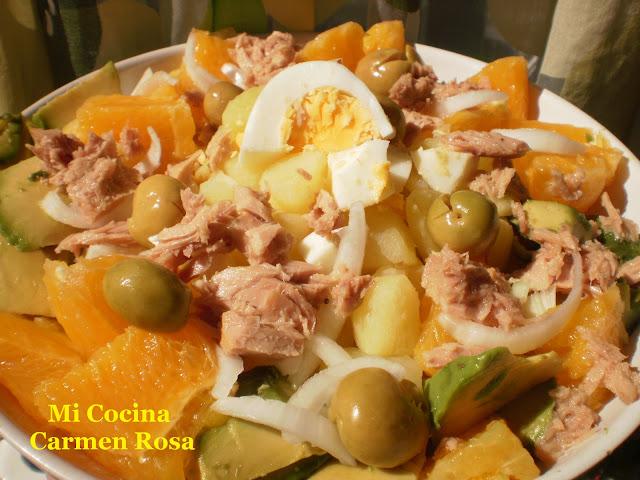 Ensalada De Patatas Con Aguacates, Atun Y Naranjas