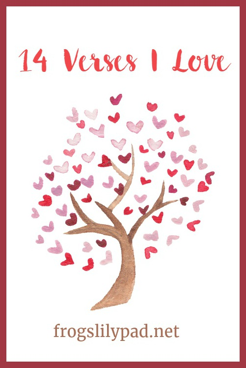 14 Verses I Love in honor of Valentine's Day. Do you have verses you love? Come share them. frogslilypad.net
