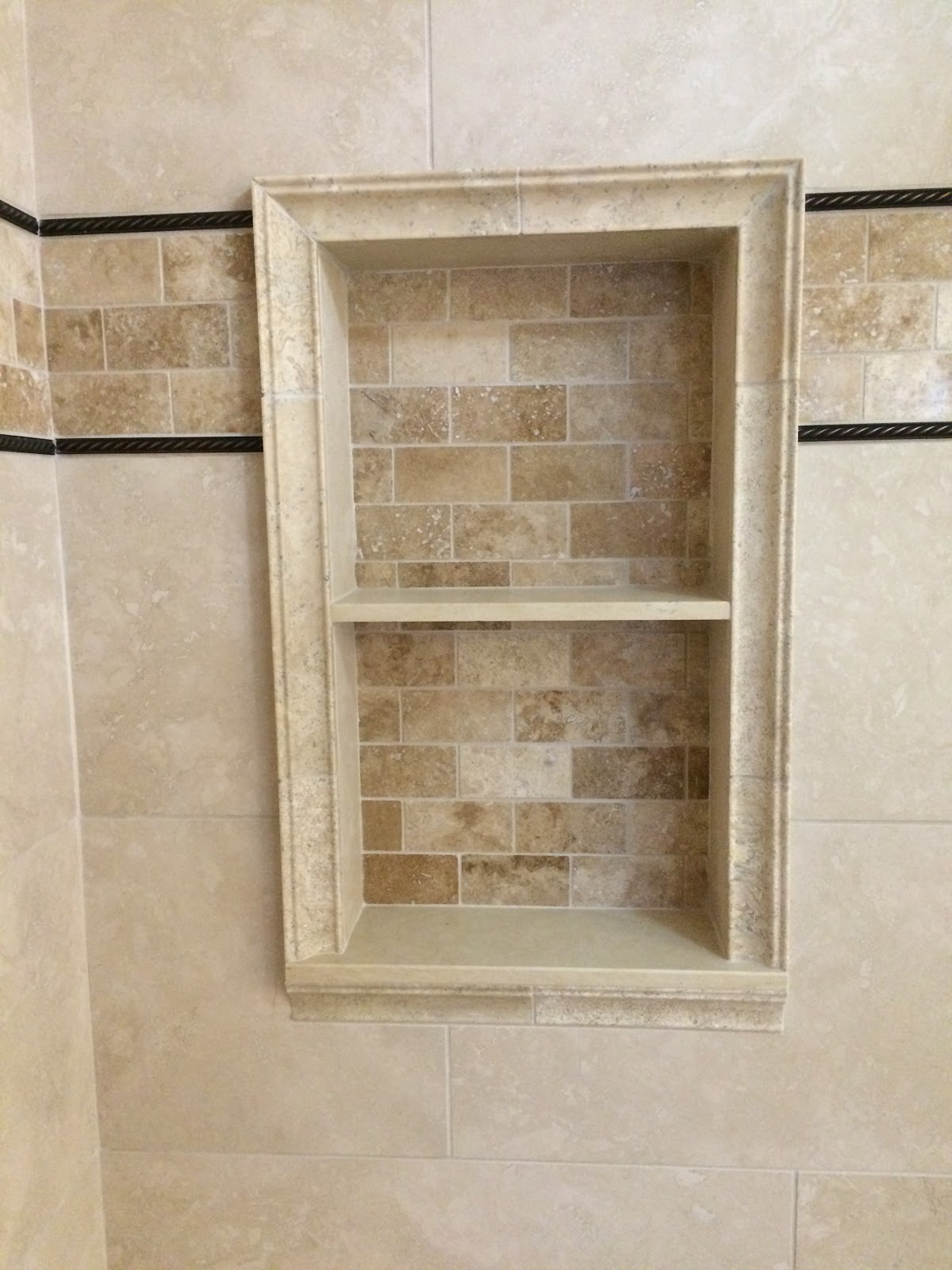 Decorative Mosaic Tile Inlay With Oil Rubbed Bronze Fixtures Recessed Niche Panna Beige Shelves Capital Travertine Trim