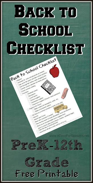 Free Back to School Checklist Printable