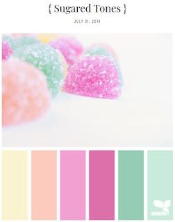 pastel pink, orange, yellow, green colors