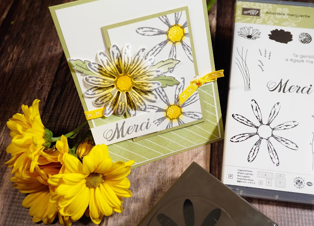 Carte avec le jeu Adorable marguerite et sa perforatrice assortie Stampin' Up!