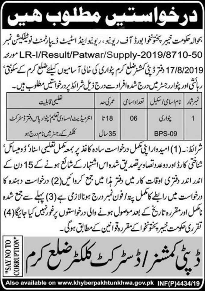 Jobs in DC Office Karam KPK 2019 for Patwari Post