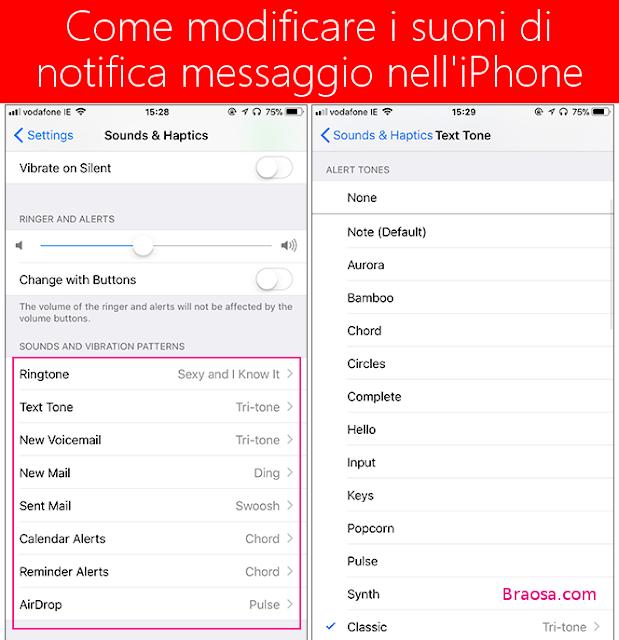 COME MODIFICARE I SUONI DI NOTIFICA MESSAGGIO SULL'IPHONE