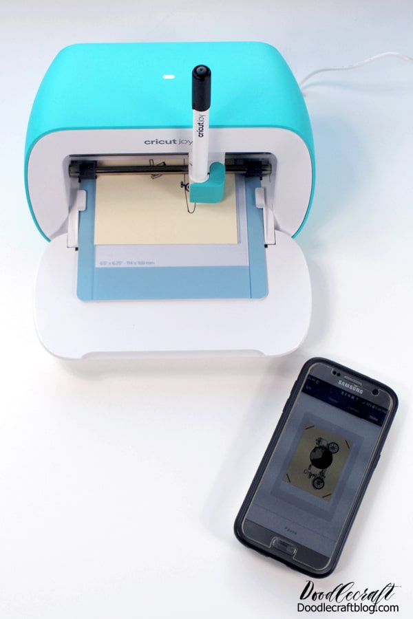 Connect the Cricut Joy to a mobile device through bluetooth using the Cricut Design Space app.