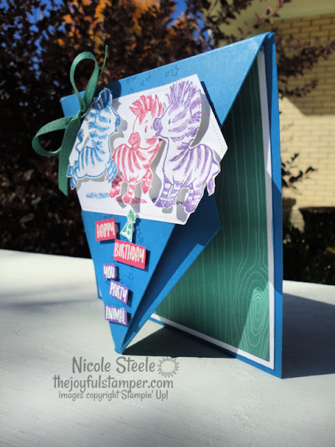 zany zebras, arrow fold, card fun folds, stampin' up!, birthday card, handmade cards, how to make a card, how to stamp, learn to stamp, hobbies, nicole steele, independent stampin' up! demonstrator from pittsburgh pa, the joyful stamper, free stamping tutorials, card instructions