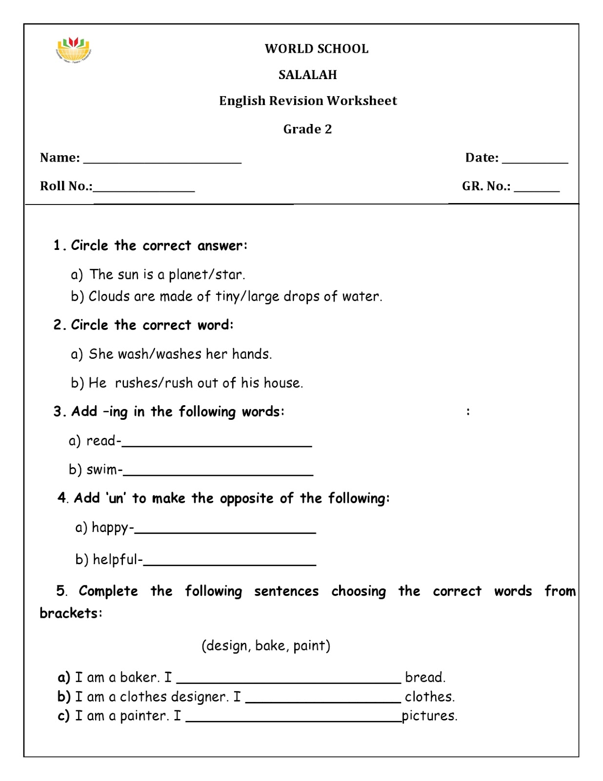 WORLD SCHOOL OMAN: Revision worksheets for grade 2