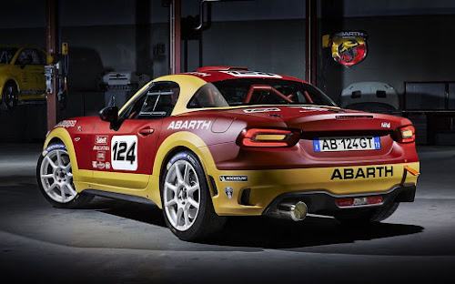 2017 Abarth 124 rally rear 3/4 view