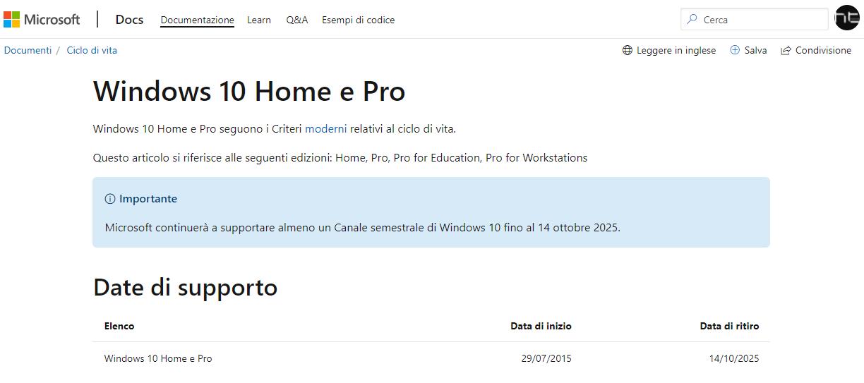 Windows 10 sarà ritirato da Microsoft nel 2025
