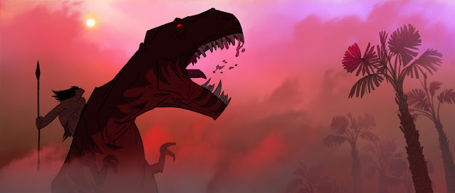 A red-eyed tyrannosaurus roars in the centre of the image. Atop its back sits a bare-chested, long-haired man holding a spear, who looks up towards a yellow sun in a pink sky. the scene is obfuscated by a thin mist, but we can see a tropical palm on the far right and the suggestion of other such trees in hte background.