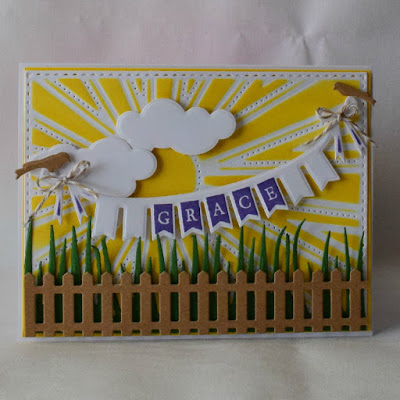Our Daily Bread Designs Stamp sets: Pennant Swag Solid Alphabet, Our Daily Bread Designs Custom Dies: Clouds & Raindrops, Sunburst Background, Fence, Grass Border, Pennant Swag, Birdcage and Banner