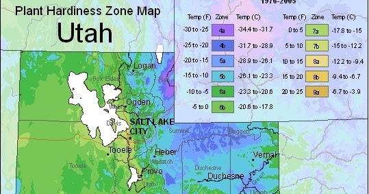 Utah Usda Plant Hardiness Zones Map