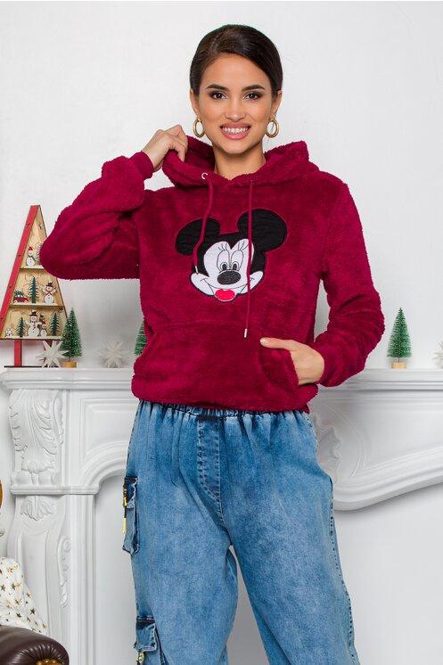 Hanorac dama Mickey Mouse bordo cu gluga si buzunar maxi