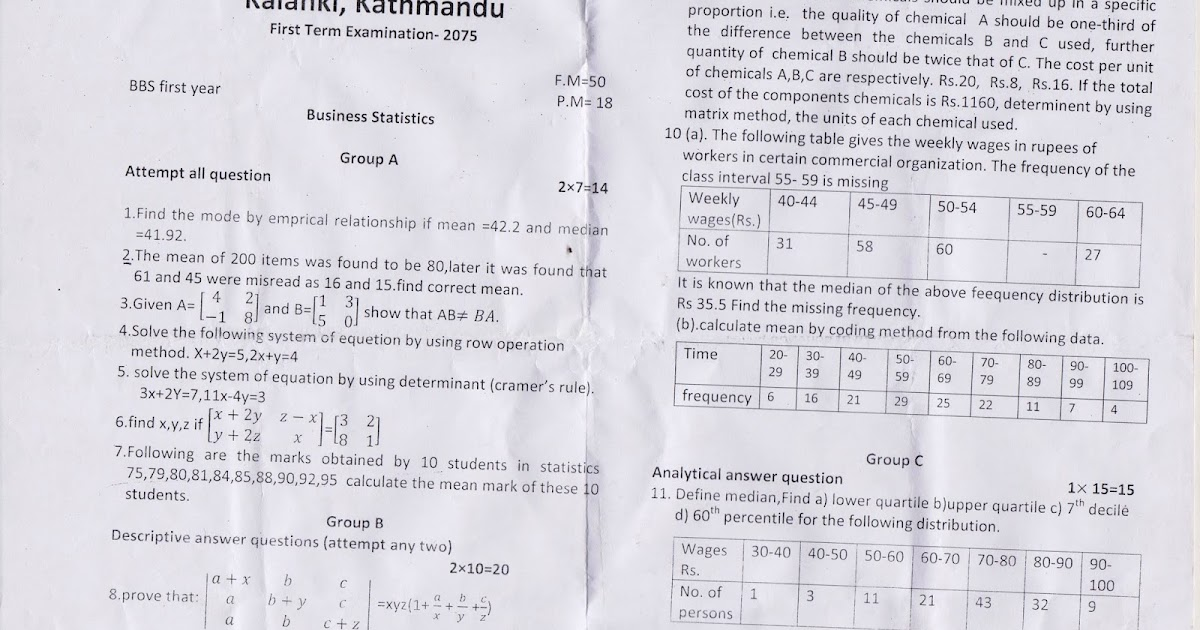 BBS first year question paper for Business Statistic
