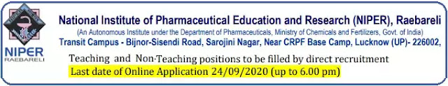 NIPER Raebareli Faculty Non-Teaching Recruitment 2020