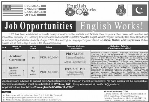Lahore Institute of Future Education (LIFE) Jobs 2021 in Pakistan