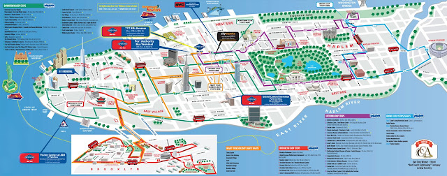 Mapa turístico perspectivado com atrações de New York