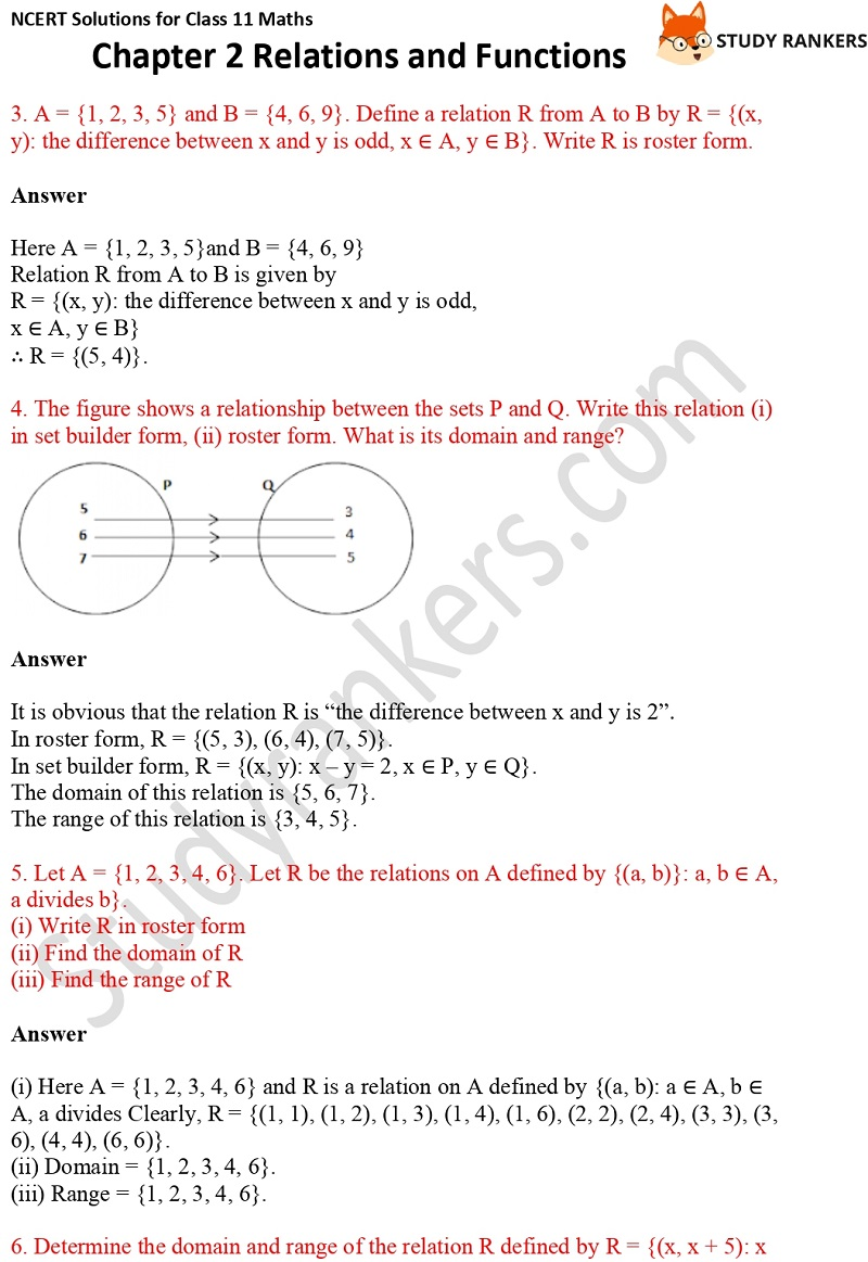 NCERT Solutions for Class 11 Maths Chapter 2 Relations and Functions 5