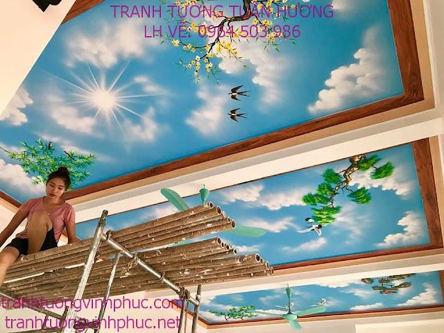 vẽ trần mây 3d tại tuân chính vĩnh tường vĩnh phúc1