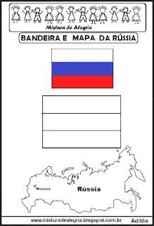Bandeira e mapa da Rússia