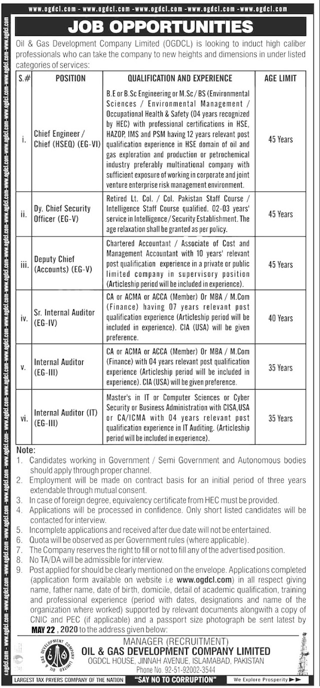 Jobs Available - Oil & Gas Development Company Limited (OGDCL) Latest Jobs 2020