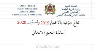 لوائح الترقية بالاختيار برسم 2019 وتسقيف 2020 - أساتذة الابتدائي