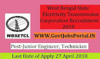 West Bengal State Electricity Transmission Corporation Recruitment 2018 –292 Junior Engineer, Technician, Junior Executive & Assistant Manager