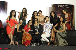 Vidya Balan with Ila Arun Gauhar Khan and other girls and star cast at Trailer launch of move Begum Jaan 006.JPG