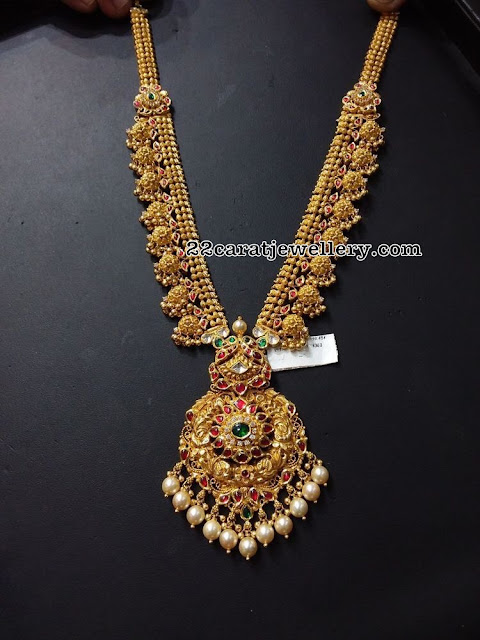 Gold Muvvala Haram Designs with Kundan