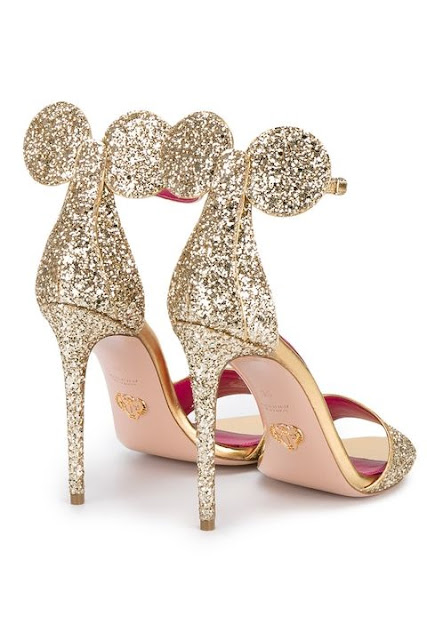 Minnie Sandals in Gold Glitter