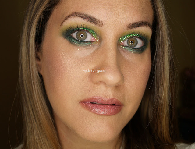 maquillaje fiesta navidad verde glitter