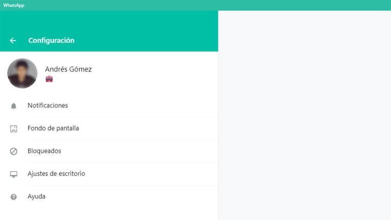 configuración aplicación escritorio whatsapp