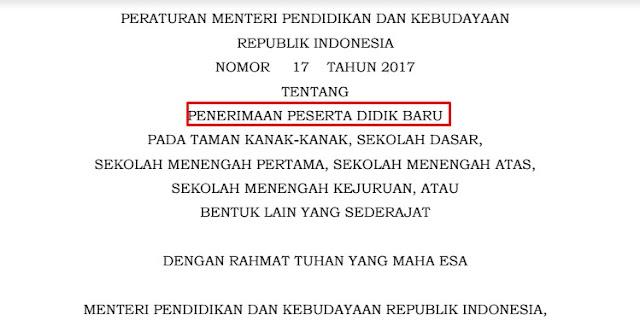Panduan Penerimaan Peserta Didik Baru Permendikbud No 17 Tahun 2017