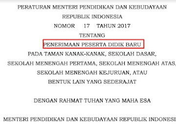 Juknis Baru PPDB Permendikbud No 17 Tahun 2017