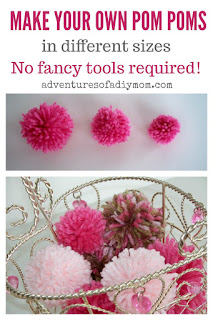 Make your own pom poms in 3 sizes. No fancy tools required!