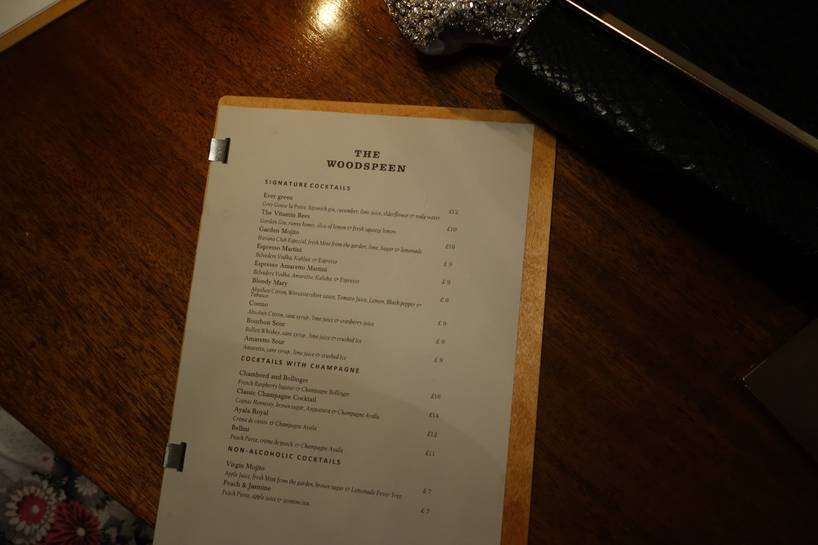 The Woodspeen Cocktail menu