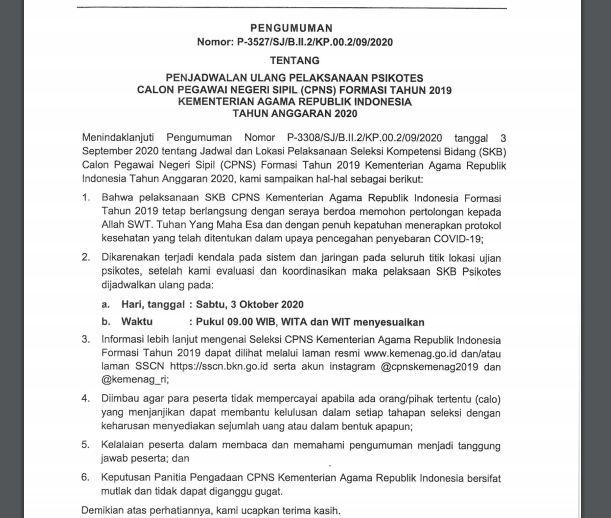 Download Pengumuman Nomor: P-3527/SJ/B.ll.2/KP.00.2/09/2020 Tentang Jadwal Ulang Pelaksanaan Psikotes CPNS Formasi Tahun 2019 Kemenag TA 2020
