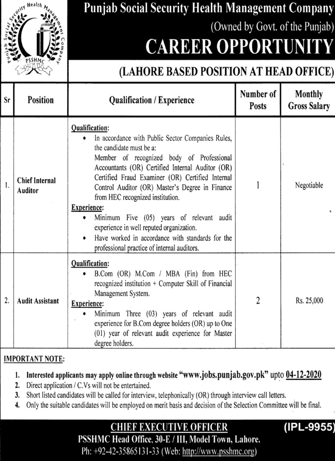 Jobs in Punjab Social Security Health Management Company Lahore 2020