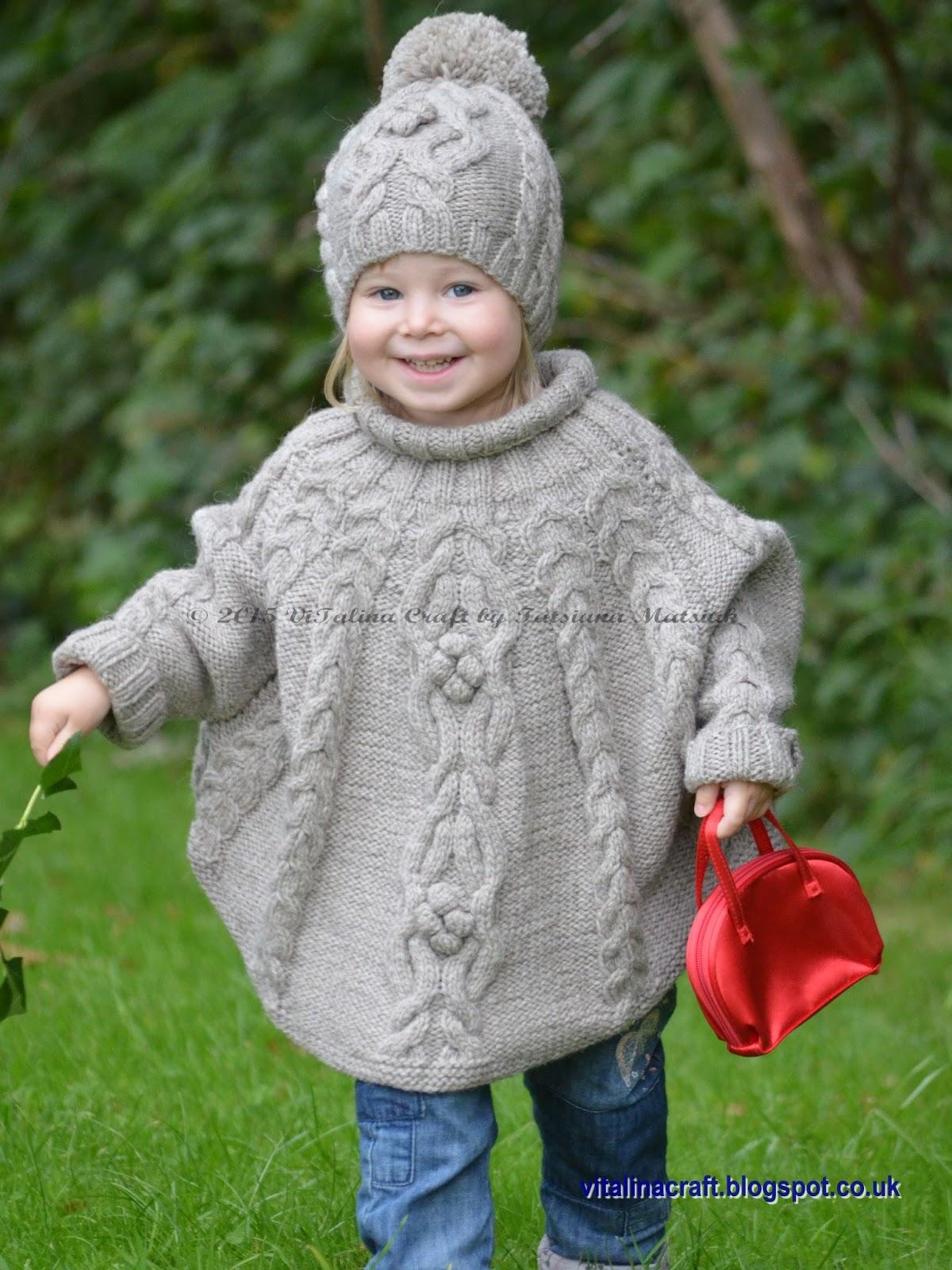 Knitting Pattern - Temptation Poncho and Hat Set (Toddler ...