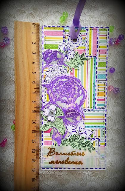 тег, закладка. цветы, из обрезков, скрапбукинг, штамп, эмбоссинг