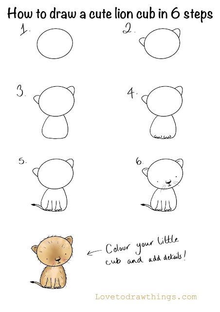 Draw a lion cub