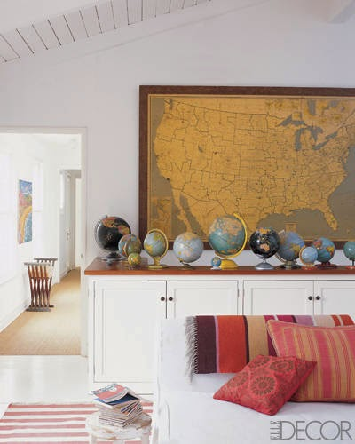 wall map and globes